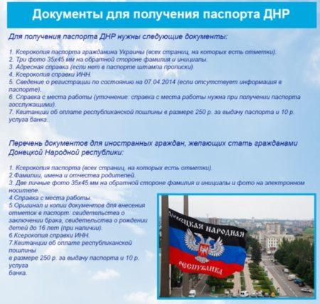 Документы для паспорта ДНР