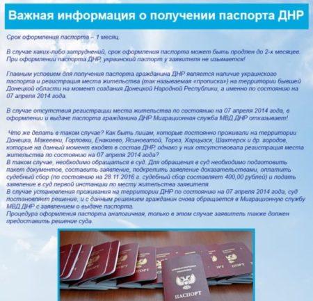 Получение паспорта ДНР