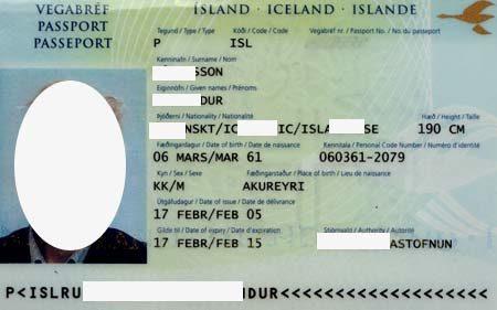Паспорт гражданина Исландии