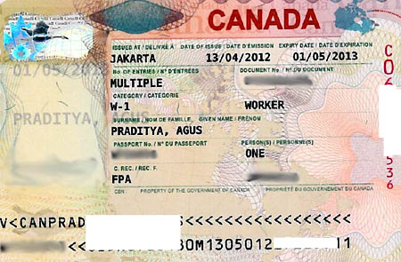 образец рабочей визы в Канаду